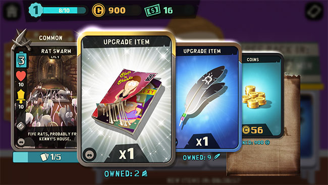 South Park features a fun pack opening and gacha reveal interaction