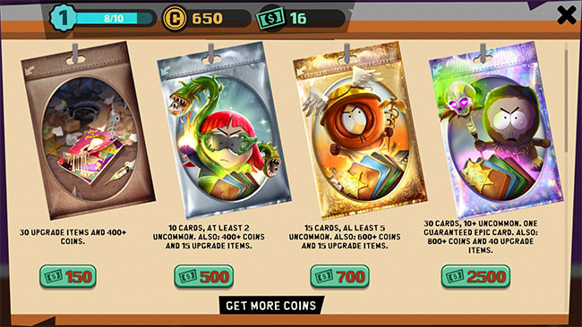 South Park offers four different flavors of gacha pack available for hard currency